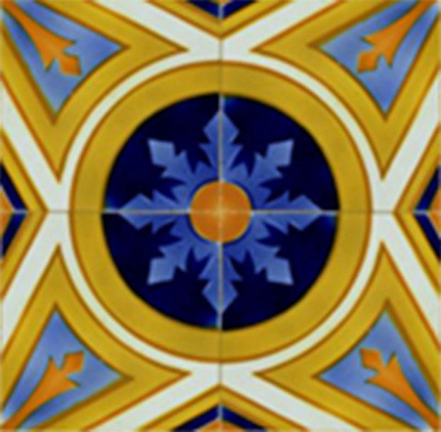 Reproducción múltiple de un azulejo de cerámica antigua (motivo 1) partiendo de un solo azulejo con un determinado motivo decorativo en tonos amarillos al irlo juntando con otros iguales van dando lugar a la formación de un nuevo motivo decorativo mayor