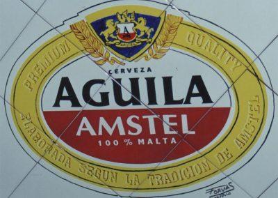 Reproducción en azulejos de cerámica con Anagrama marca de cerveza