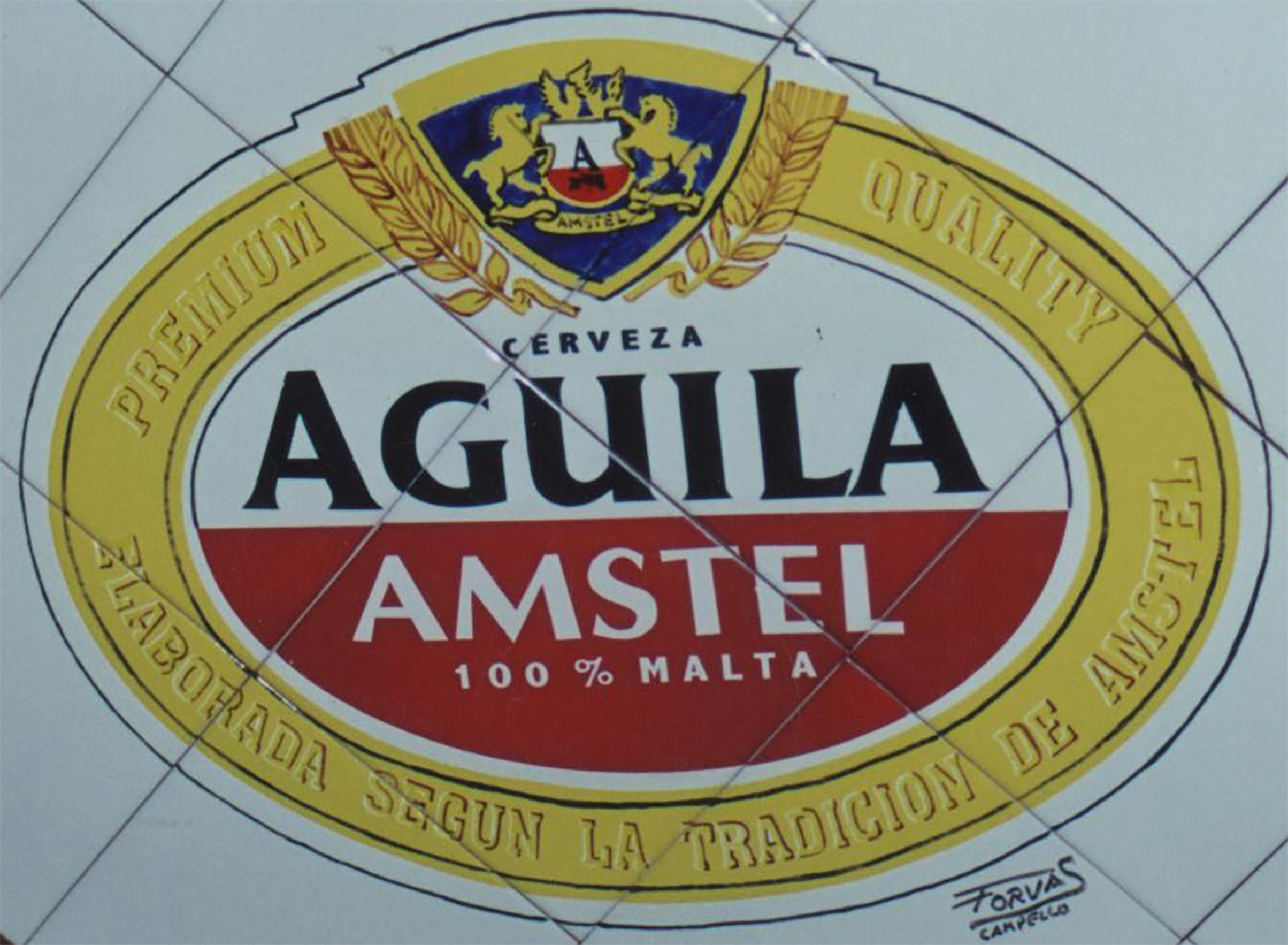 Reproducción en azulejos de cerámica con Anagrama marca de cerveza Amstel. El dibujo se realizó sobre los azulejos cerámicos colocados en forma de rombo.