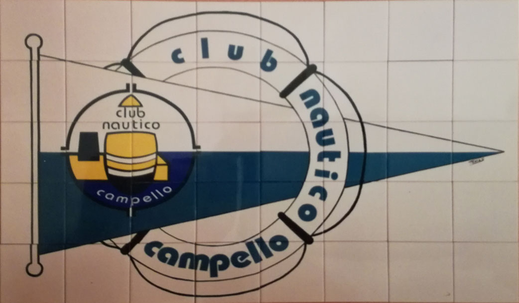 Escudo del Club Náutico Campello de 120 cm por 75 cm de alto, realizado sobre azulejos cerámicos de 15 por 15 cm.