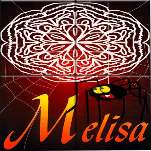 Reproducción en cerámica de un Anagrama donde aparece una filigrana blanca sobre un fondo difuminado que va del negro al rojo y en la parte inferior reproduce el nombre con unas letras en tonos anaranjados