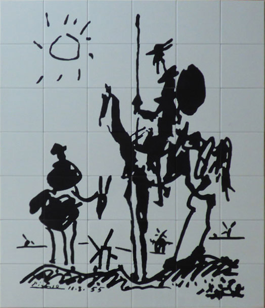 Mural en cerámica reproduciendo el célebre dibujo de la interpretación singular que hizo Picasso del Quijote con Sancho.