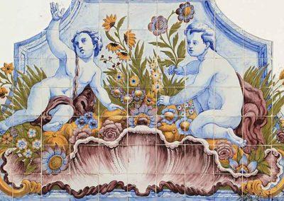 Reproducción en cerámica mural de una pintura