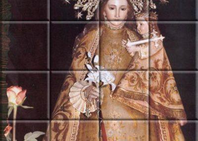 Mural sobre azulejos de la Virgen de los Desamparados