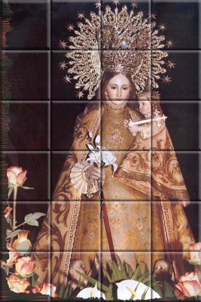 Mural sobre azulejos de la Virgen de los Desamparados.